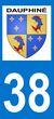 Sticker blason autocollant pour plaques dimmatriculation auto - Dauphiné+Isère-38