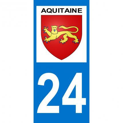 SAFIRMES D/épartement 24-2 Autocollants Blason immatriculation Auto Plaque AQUITAINE 2018