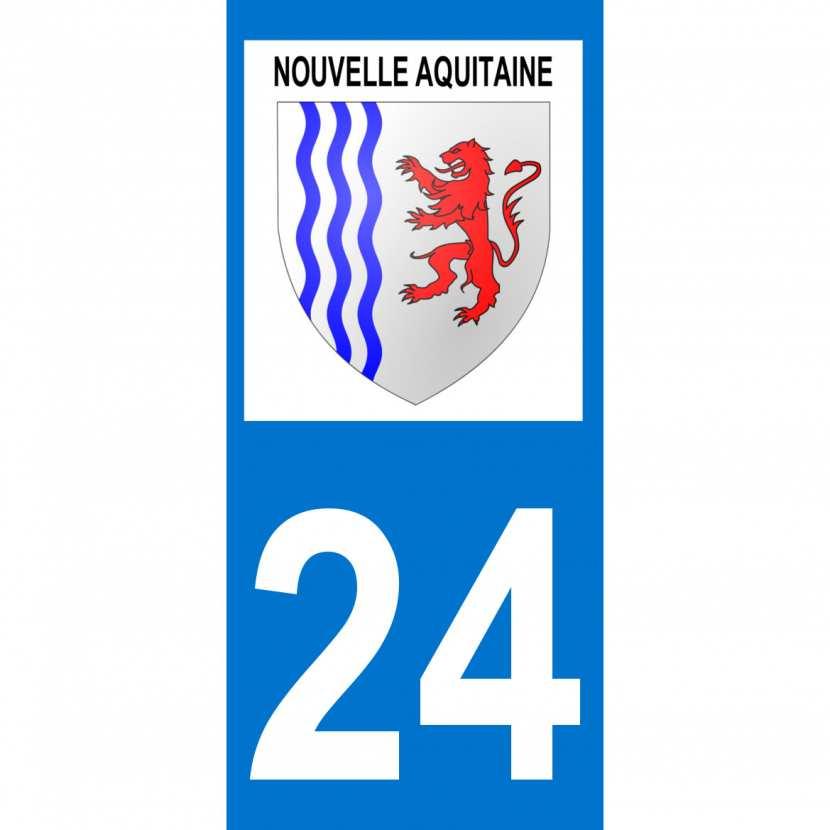 24 Dordogne autocollant plaque immatriculation auto d/épartement sticker Nouvelle Aquitaine blason arrondis Angles