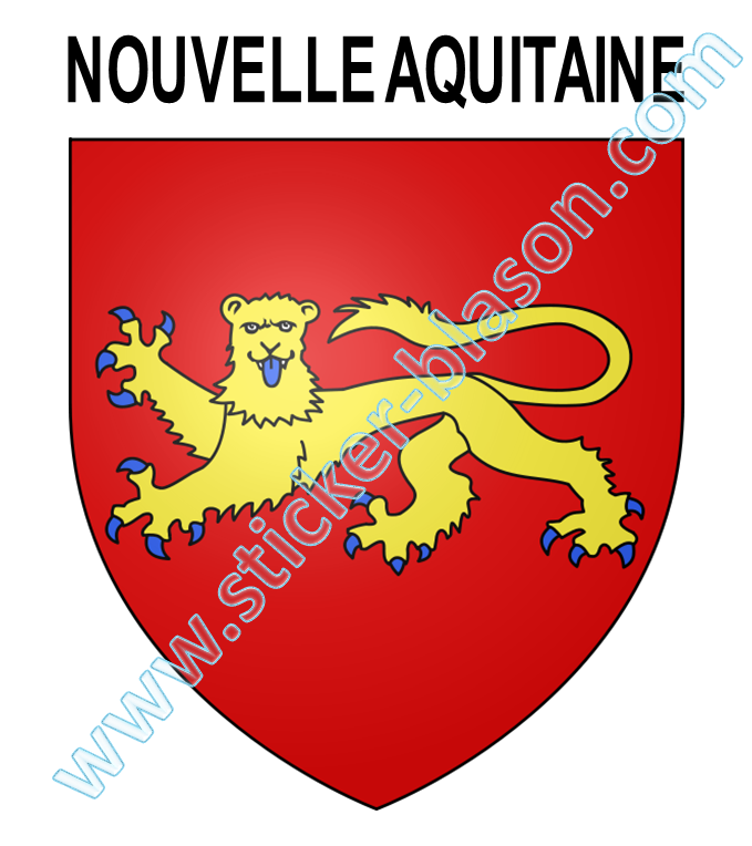 blason nouvelle aquitaine autocollant pour plaque d 39 immatriculation automobile. Black Bedroom Furniture Sets. Home Design Ideas